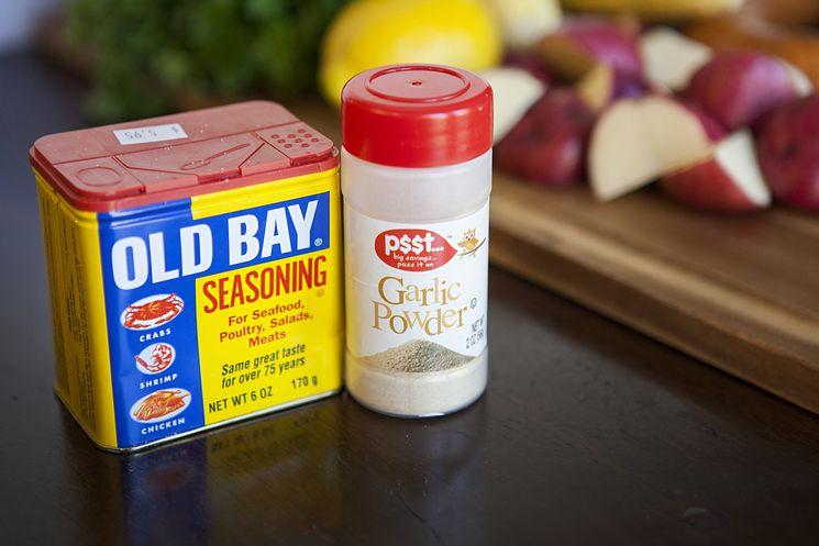 old bay seasoning and garlic powder. Seasoning for a shrimp boil.