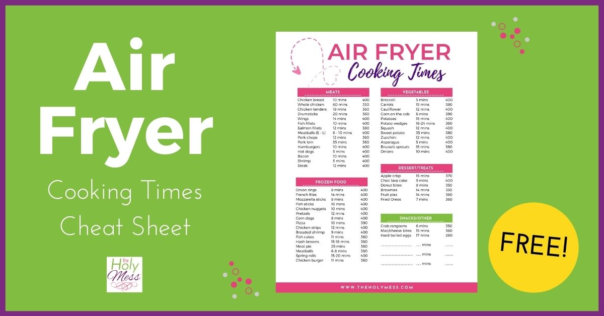 Air Fryer Cooking Chart with Time and Temperature