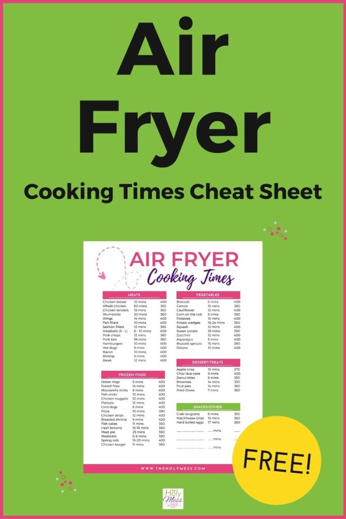 Air Fryer Time and Temp Cheat Sheet