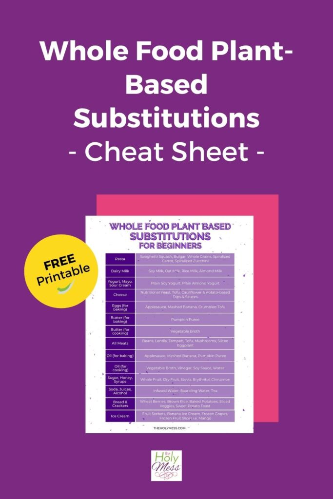 Plant Based Substitutions Cheat Sheet