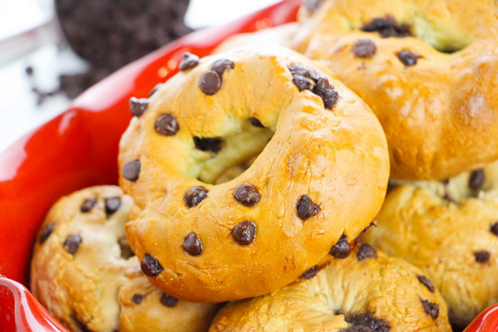 WW 2 ingredient dough chocolate chip bagels