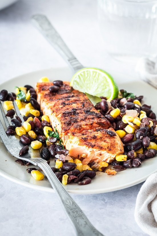 Salmon with black beans and corn