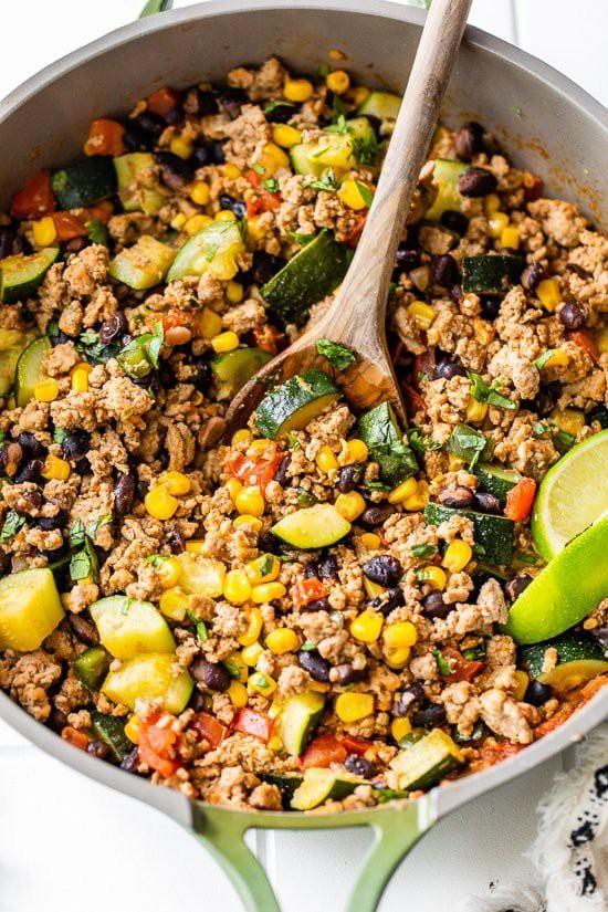 Turkey corn zucchini skillet