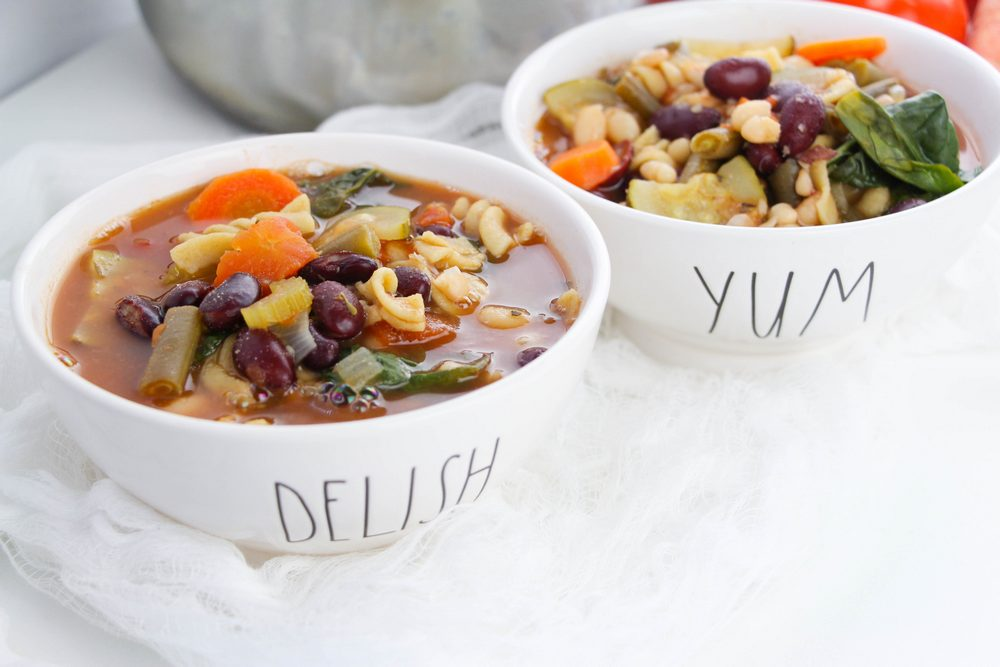 Minestrone in two bowls vegan